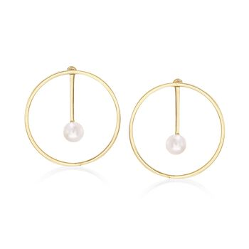 Italian 7.5-8mm Cultured Pearl Jewelry Set: Earrings and Front-Back Jackets in 18kt Gold Over Sterling, , default