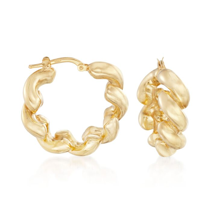 "Italian 18kt Yellow Gold San Marco-Style Hoop Earrings. 1"", , default"