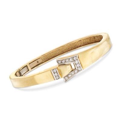 C. 1980 Vintage .35 ct. t.w. Diamond Buckle Bracelet in 14kt Yellow Gold, , default