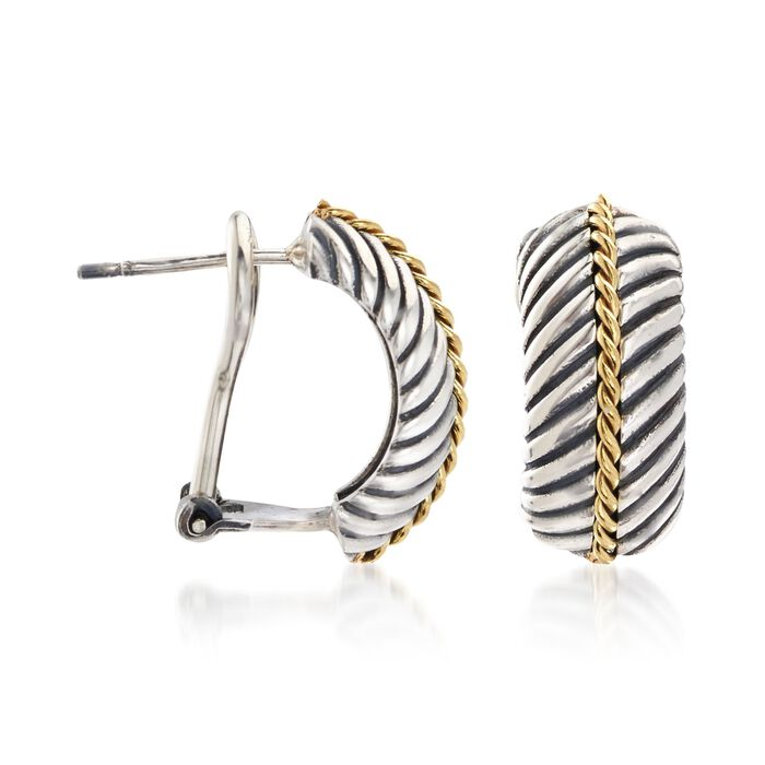"""Phillip Gavriel """"Italian Cable"""" Sterling Silver and 18kt Gold Half Hoop Earrings"""