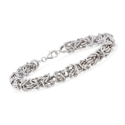 Men's Sterling Silver Medium Byzantine Bracelet, , default