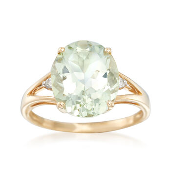 4.00 Carat Green Amethyst Ring With Diamond Accents in 14kt Yellow Gold, , default