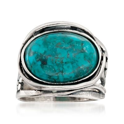 Oval Turquoise Floral Ring in Sterling Silver