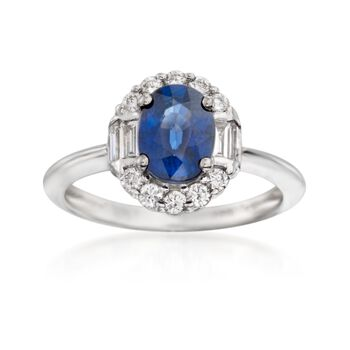 1.50 Carat Sapphire and .50 ct. t.w. Diamond Ring in 14kt White Gold, , default