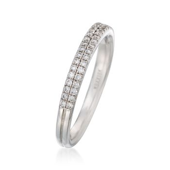 Henri Daussi .30 ct. t.w. Two-Row Pave Diamond Wedding Ring in 18kt White Gold, , default