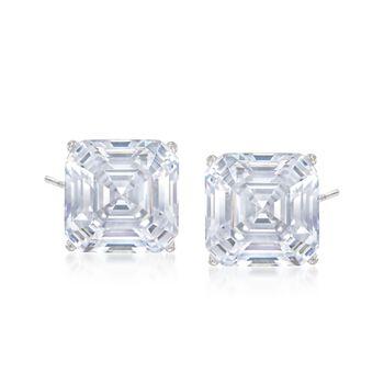 6.00 ct. t.w. Asscher-Cut CZ Stud Earrings in 14kt White Gold, , default