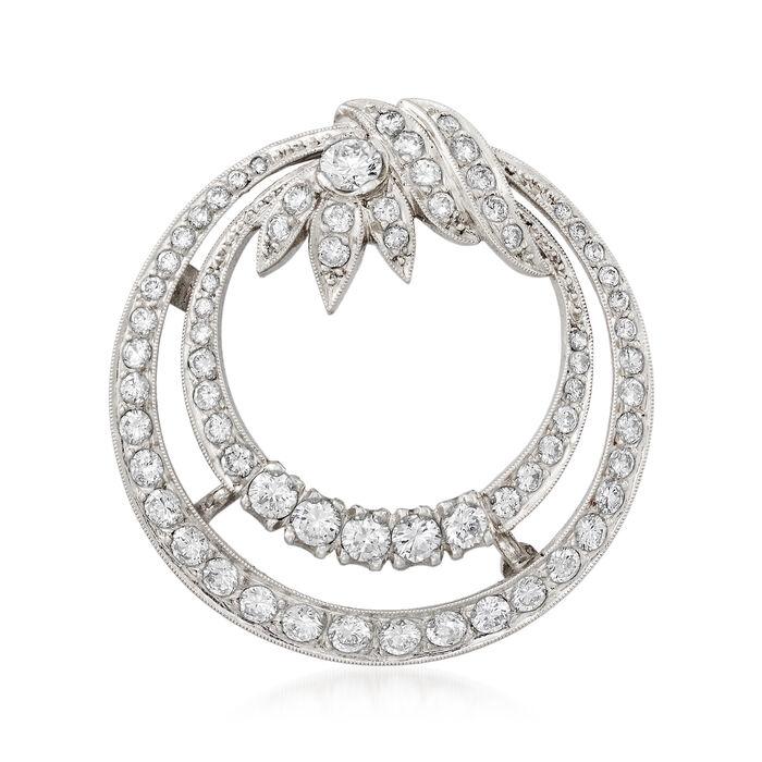"""C. 1970 Vintage 1.85 ct. t.w. Diamond Double-Circle Pendant Necklace in Platinum. 18"""", , default"""