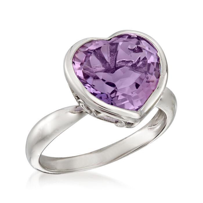 5.50 Carat Amethyst Heart Ring in Sterling Silver