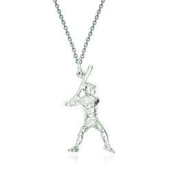 """Sterling Silver Baseball Batter Charm Necklace. 18"""", , default"""