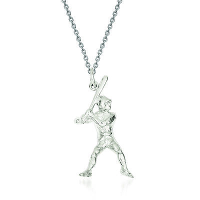 "Sterling Silver Baseball Batter Charm Necklace. 18"", , default"
