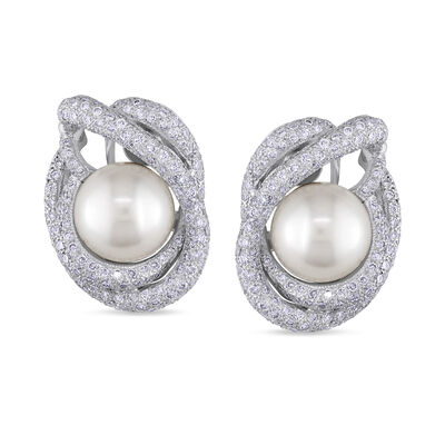 11-12mm Cultured South Sea Pearl and 4.35 ct. t.w. Diamond Earrings in 18kt White Gold, , default