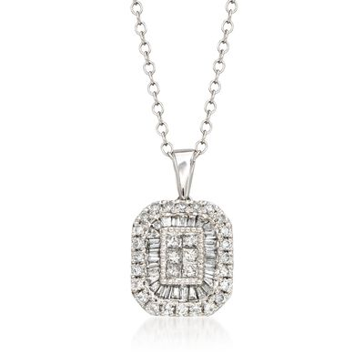 .50 ct. t.w. Diamond Rectangular Pendant Necklace in 14kt White Gold, , default