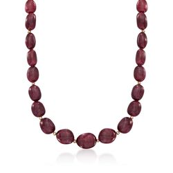 Free-Form Opaque Ruby Bead Necklace With 14kt Yellow Gold, , default