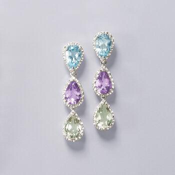 8.30 ct. t.w. Multi-Gemstone and .10 ct. t.w. Diamond Drop Earrings in Sterling Silver, , default
