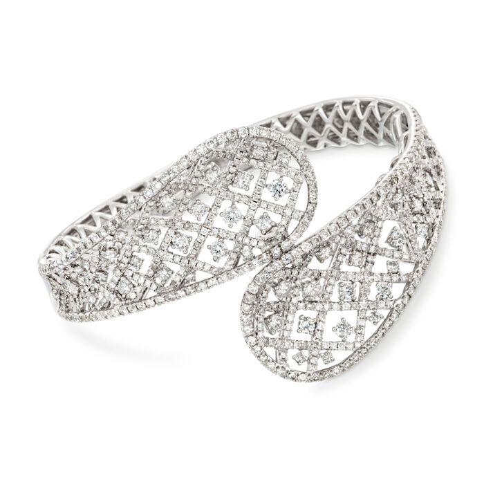 "8.97 ct. t.w. Diamond Bypass Bangle Bracelet in 18kt White Gold. 7"", , default"