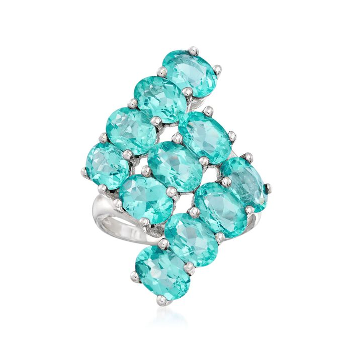 10.00 ct. t.w. Apatite Geometric Ring in Sterling Silver, , default