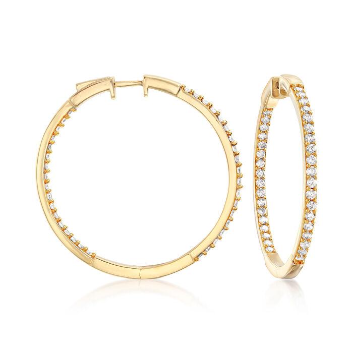 """2.00 ct. t.w. Diamond Inside-Outside Hoop Earrings in 18kt Gold Over Sterling. 1 1/2"""""""