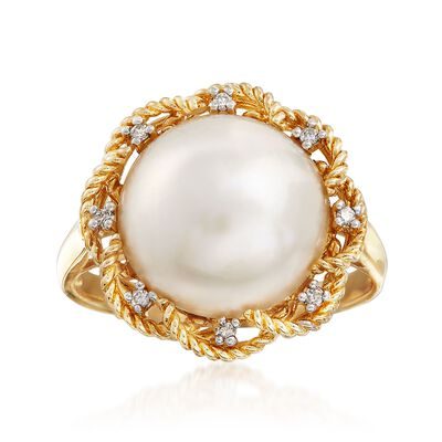 12-12.5mm Mabe Pearl Ring in 14kt Yellow Gold, , default