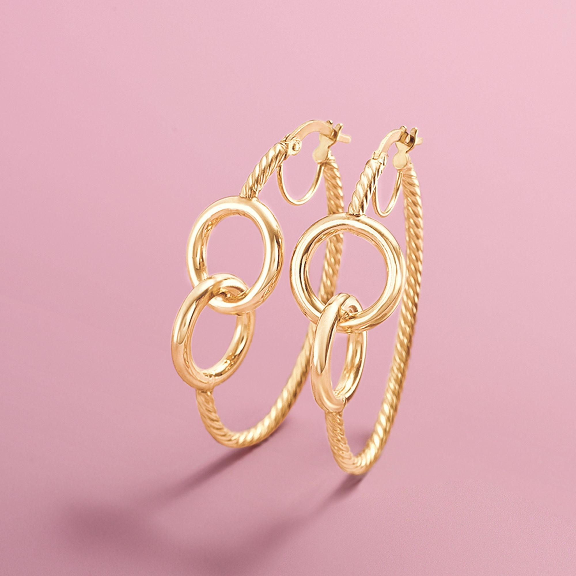 Italian 14kt Yellow Gold Roped Hoop Earrings With Eternity Circles ...