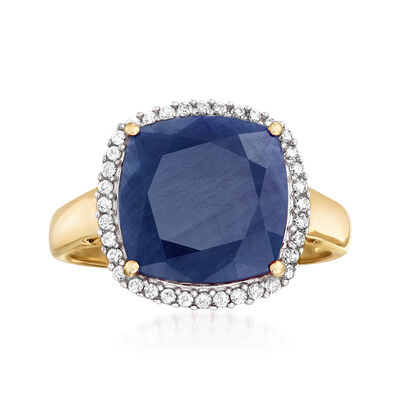 7.10 Carat Sapphire and .16 ct. t.w. Diamond Ring in 14kt Yellow Gold