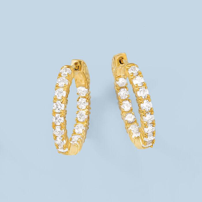 3.00 ct. t.w. CZ Inside-Outside Hoop Earrings in 14kt Gold Over Sterling
