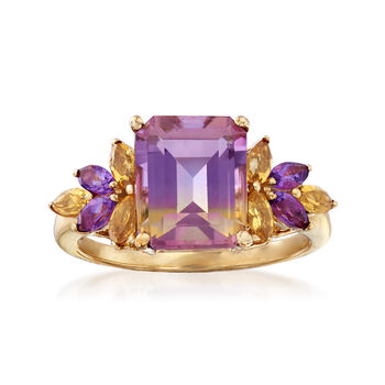 2.50 Carat Ametrine Floral Ring With Citrines and Amethysts in 14kt Yellow Gold, , default