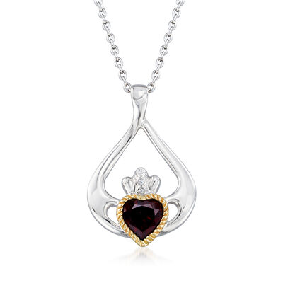 1.70 Carat Garnet Heart Claddagh Pendant Necklace in Sterling Silver with 14kt Yellow Gold