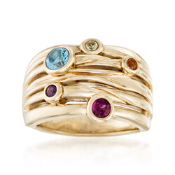 .54 ct. t.w. Bezel-Set Multi-Stone Ring in 14kt Yellow Gold, , default