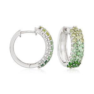 2.10 ct. t.w. Green Multi-Stone Hoop Earrings in Sterling Silver #909368