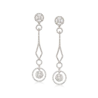 2.61 ct. t.w. Diamond Drop Earrings in 14kt White Gold
