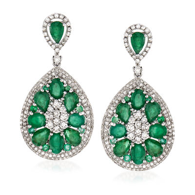 7.30 ct. t.w. Emerald and 1.65 ct. t.w. Diamond Drop Earrings in 18kt White Gold, , default