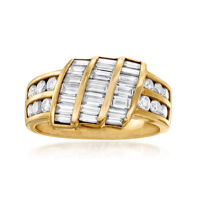 C. 1980 Vintage 2.00 ct. t.w. Round and Baguette Diamond Ring in 14kt Yellow Gold, , default
