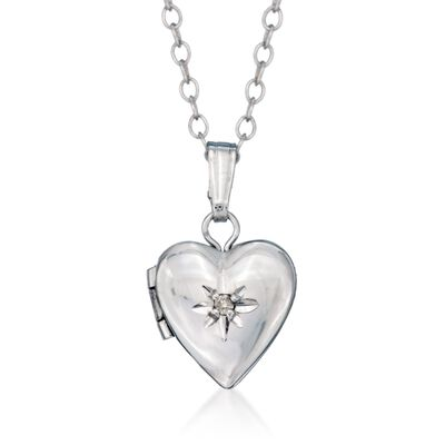 Child's Diamond Accent Heart Locket Necklace in Sterling Silver , , default