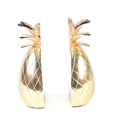 Set of 2 Gold Pineapple Bookends, , default