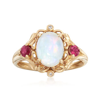 Opal and .20 ct. t.w. Ruby Ring With Diamond Accents in 14kt Yellow Gold, , default