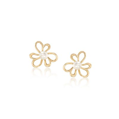 5-5.5mm Cultured Pearl Flower Earrings in 14kt Yellow Gold, , default