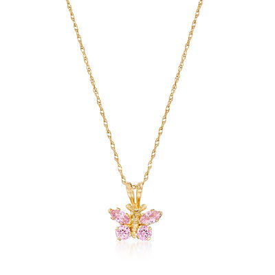 Child's Simulated Pink Sapphire Butterfly Necklace in 14kt Yellow Gold, , default
