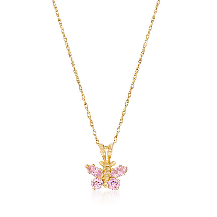 Child's Simulated Pink Sapphire Butterfly Necklace in 14kt Yellow Gold