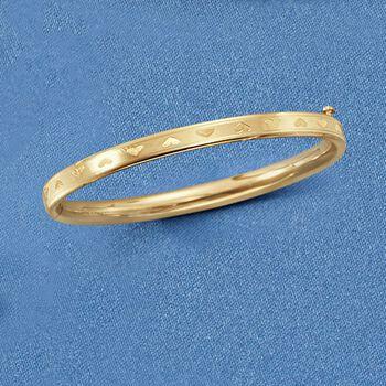 "Baby's 14kt Yellow Gold Heart Bangle Bracelet. 4.5"""