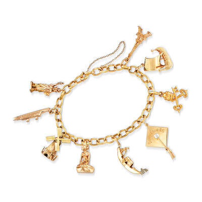 C. 1960 Vintage Cable Link Charm Bracelet in 14kt Yellow Gold and 18kt Yellow Gold, , default