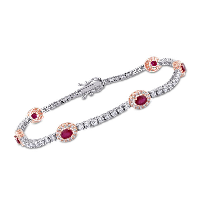 6.00 ct. t.w. Ruby and 2.03 ct. t.w. Diamond Station Tennis Bracelet in 14kt Two-Tone Gold