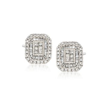 1.00 ct. t.w. Diamond Rectangle Earrings in 14kt White Gold, , default