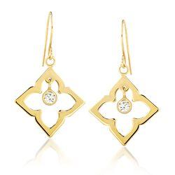.20 ct. t.w. CZ Open Clover Drop Earrings in 14kt Yellow Gold, , default