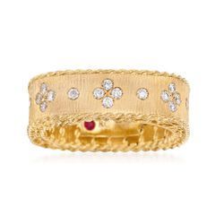 "Roberto Coin ""Princess"" .32 ct. t.w. Diamond Square Ring in 18kt Yellow Gold, , default"