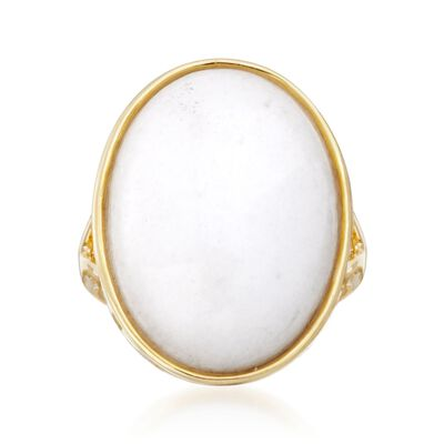 Oval White Jade Ring in 14kt Yellow Gold Over Sterling, , default