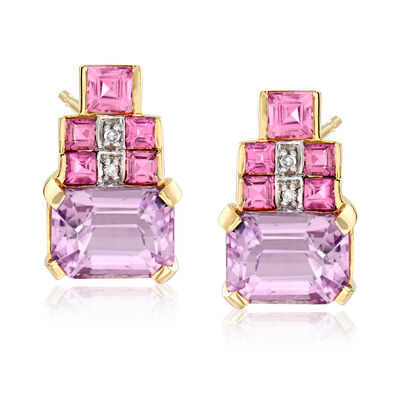 4.00 ct. t.w. Kunzite and .90 ct. t.w. Tourmaline Earrings in 14kt Yellow Gold, , default