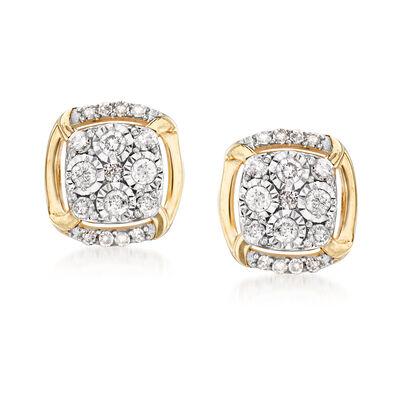 .20 ct. t.w. Diamond Cluster Earrings in 14kt Yellow Gold
