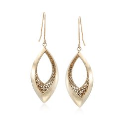 Italian 14kt Yellow Gold Marquise Drop Earrings, , default