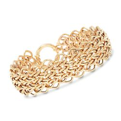 14kt Yellow Gold Textured and Polished Multi-Oval Link Bracelet, , default