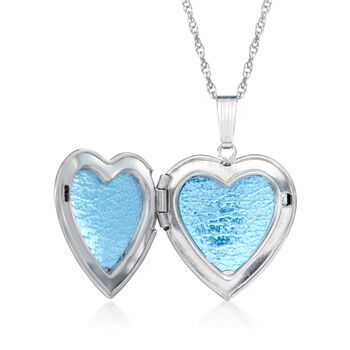 "14kt White Gold Floral Motif Heart Locket Necklace. 18"", , default"